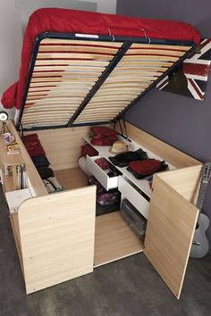 Combo bed/storage closet. French design, kits from Haute-Saône. | Tiny Homes