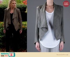 Emma Swan's grey leather jacket on Once Upon A Time.  Outfit Details: https://wornontv.net/9596/ #OUAT