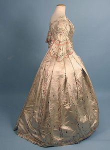 Gorgeous 1840's silk embroidered dress!