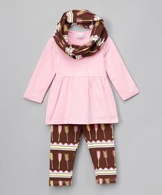 Love this Pink & Brown Arrow Tunic Set - Infant, Toddler & Girls by Lady's World on #zulily! #zulilyfinds