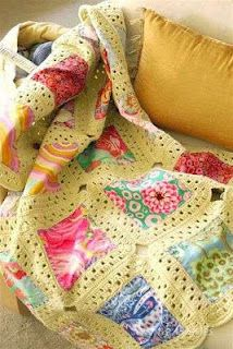 I love this idea.  A way to mix crochet with quilting.    Awesome quilt and afghan... love this.