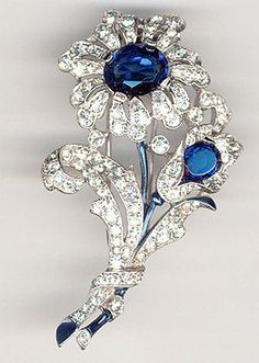 Trifari 'Alfred Philippe' Pave Enamel and Sapphires Two Flower Floral Spray Pin