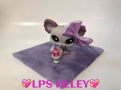 *AUTHENTIC* LPS Littlest Pet Shop #1138 GRAY PURPLE CHIHUAHUA BROWN EYES #Hasbro