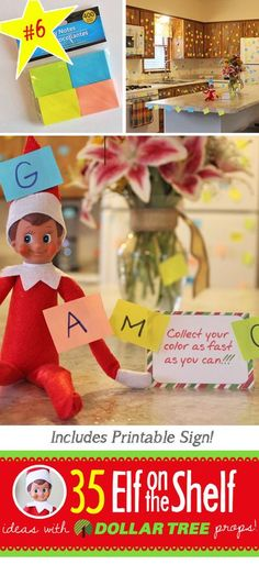 Fun and EASY Post it Note game for your Elf on the Shelf!! 55 Elf on the Shelf ideas for this year! These fun, creative & EASY ideas all include an item from the Dollar Tree and many with FREE printables! #Easy #ElfontheShelf #Ideas #freeprintable