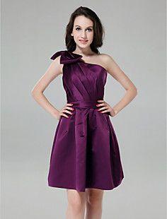 A-line One Shoulder Knee-length Satin Cocktail Dress – USD $ 67.99