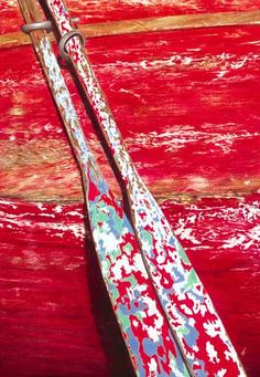 Chippy wooden red row boat and oars photo. Wabi Sabi, Old Boats, Shades Of Red, Belle Photo, Strand, Color Inspiration, Les Oeuvres, Red Color, Favorite Color