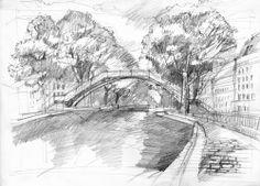 Desene in creion, arta in alb si negru - Canalul Saint Martin, Paris - Slide 6 din 8