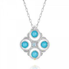 Tacori Island Rains Silver Neolite Turquoise & Sky Blue Topaz Pendant... ($900) ❤ liked on Polyvore featuring jewelry, necklaces, silver necklace, turquoise necklace, charm necklace, layered chain necklace and silver charms