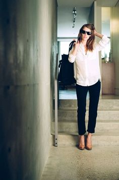 white shirt, black pants, heels = eternal (but with the updated cuffed pants and camel shoes!)
