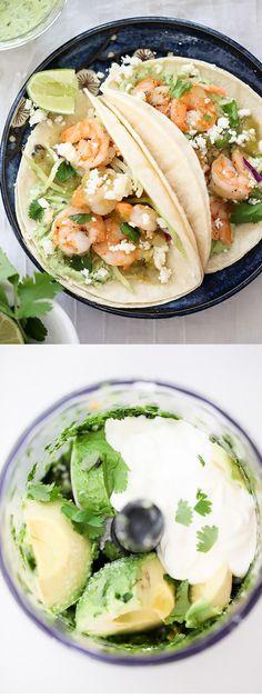 Shrimp Tacos with Garlic Avocado Crema and Broccoli Slaw - avocado crema was delicious! Fish Recipes, Seafood Recipes, Mexican Food Recipes, Dinner Recipes, Cooking Recipes, Healthy Recipes, Fish Dishes, Mexican Dishes, Seafood Dishes