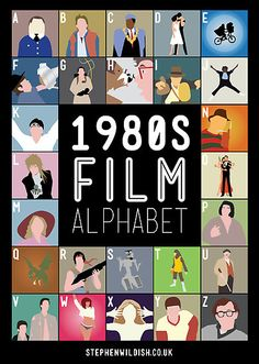 All the 80ies-movie-admiration you can ask for to stick onto your wall in handy alphabetical order
