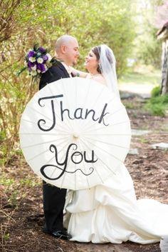 Thank You Parasol $35  #wedding #weddingaccessories #parasol #thankyou #white