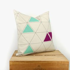 Triangle decorative pillow  16x16 pillow cover by ClassicByNature, $64.00