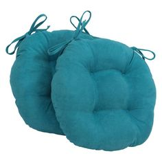 Blazing Needles U Shape 16 X 16 In. Micro Suede Dining Chair Cushions   Set  Of 2 Aqua Blue   916X16US T 2CH MS AB
