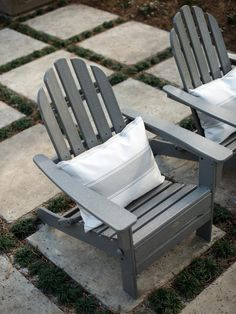HGTV Smart Home 2013: Artistic View on HGTV - Liking the neutral gray chairs and the pavement tiles on the grass.