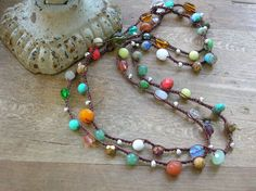 Colorful crochet necklace, Boho jewelry, Gypsy Tribal bohemian wrap bracelet, hippie chic, czech glass beads, gemstones