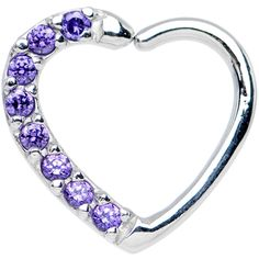 16 Gauge Purple CZ Heart Right Closure Daith Cartilage Tragus Earring | Body Candy Body Jewelry #bodycandy #piercings #tragus