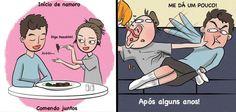 11 Tirinhas mostrando como ficam os casais depois que a intimidade predomina Cute Wallpapers, Family Guy, Lol, Humor, Guys, Comics, Funny, Anime, Fictional Characters