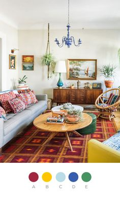 Window Shopping on Design*Sponge. I love the laid back, colorful vibe of this room. The macrame plant hanger with a spider plant is really nice.