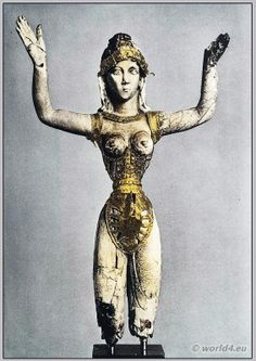 Ancient Minoan Goddess in corset. Our Lady Of The Sports with male loincloth. Views of Corset, Girdle and male loin. Greek History, Ancient History, Art History, Creta, Ancient Goddesses, Gods And Goddesses, Ancient Greek Art, Ancient Greece, Knossos Palace