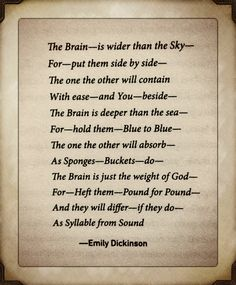 The Brain is wider than the Sky -Emily Dickinson