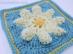 CrochetKim Free Crochet Pattern | Logo Flower Square @crochetkim