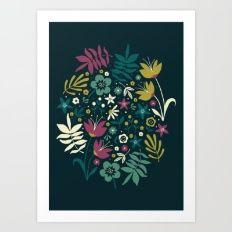 Midnight Florals (pop) Art Print