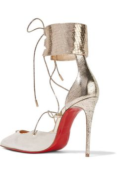 Christian Louboutin | Corsankle 100 metallic leather and lamé pumps | NET-A-PORTER.COM