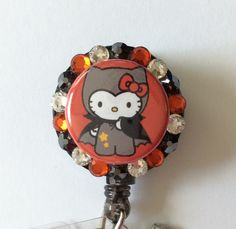 Kitty Halloween Dracula Decorative Badge/ID Holder with Charms/Beads by Lindasbadgeboutique on Etsy