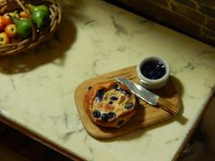 Miniature Handmade  Blueberry BouleBread Wood by JansPetitPantry