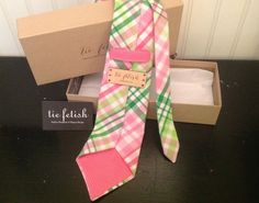 Pink, green and white plaid neck tie by TieFetish on Etsy