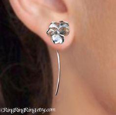 Long stem Violet Pansy flower earrings sterling by RingRingRing