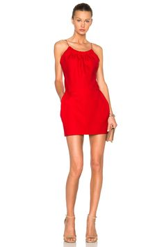 Image 1 of Victoria Beckham Ruffle Cami Mini Dress in Red