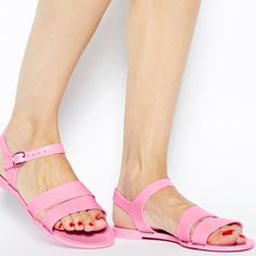 Baby pink JuJu jelly sandals Juju baby pink exclusive flat jelly sandals. Worn once. ASOS Shoes Sandals