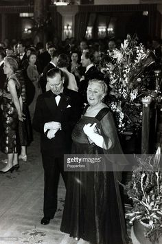 14th April 1958, English crime writer Agatha Christie with Peter Saunders at the party to celebrate the record 2,239th performance of her play 'The Mousetrap'