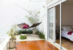 Within a house or a building, a terrace and balcony are used for similar purposes. Do you know the difference between a terrace and balcony? Rooftop Garden, Balcony Garden, Balcony Ideas, Hammock Balcony, Balcony Decoration, Outdoor Spaces, Outdoor Living, Outdoor Decor, Bedroom Balcony