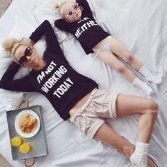 Mother daughter twinning in fun slogan t-shirts