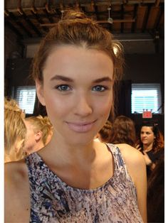 Natural makeup and ballerina buns backstage at the Christian Siriano show! #NYFW