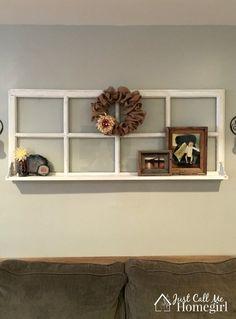 Rustic window decor, vintage window decor, window frame decor, an Old Window Decor, Old Window Frames, Window Shelves, Room Window, Window Panes, Decor With Old Windows, Window Frame Ideas, Window Pane Picture Frame, Rustic Window Frame