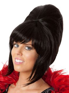 Black Ladies Beehive Wig With Rose Amy Winehouse Fancy Dress Red Costume