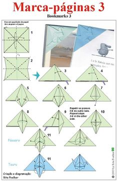 origami diagram ... marcapaginas3 .... cover the corner bookmark with a  crane on top ...