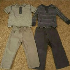 Designer bundle 2T BOYS 4 pieces of basically new 2T items. Guess gray jeans with baby gap 2T t-shirt! Blue gymboree 2T dress pants with blue long sleeve Cherokee t-shirt! LOVE BOTH!!! Guess Other