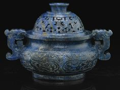 A carved lapis-lazuli censer and cover.   Qing Dynasty, Qianlong Period.