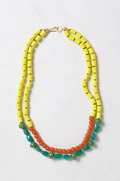 Colorblocked Double Strand #anthropologie design by #WendyMink 18k gold plated base metal, vintage glass beads, resin, agate, silk