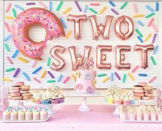 2nd Birthday Party For Girl, Second Birthday Ideas, Donut Birthday Parties, Girl Birthday Themes, Kids Party Themes, Candy Theme Birthday Party, Girl Theme Party, Birthday Ideas For Girls, First Birthday Party Decorations