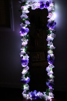 Available in different colours, sizes and… Night view. Available in different colours, sizes and shapes. Postage not available on this item. Diy Floral Mirror, Diy Mirror Decor, Flower Mirror, Cute Bedroom Decor, Room Ideas Bedroom, Flower Frame, Diy Room Decor, Mirror Ideas, Decorating Mirrors