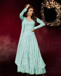 Priyanka Chopra Sky Blue Net Long Anarkali Suit 78383