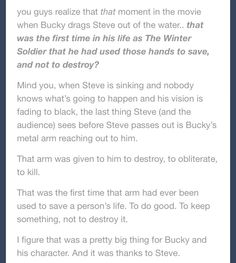 Bucky's metal arm... AAHHHH THE FEELS