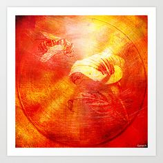 The bee and the callas Art Print by ganech - $16.64