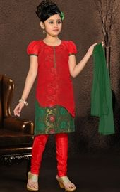 Picture of Contemporary Green and Red Color Kids Churidar Kameez